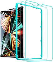 <ESR ガラスフィルム iPad Pro 12.9 (2021/2020/2018)用 保護フィルム 高透明 硬度9H 強化ガラスフィルム スクラッ 飛散と気泡防止 ガイド枠付き 2枚入り>