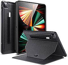 <ESR iPad Pro 12.9 ケース 第五世代 5G 2021年モデル対応 スタンドケース 9つのスタンド角度 調節可 しっかり保護 磁気吸着 ペンシルホルダー付き(ブラック) >