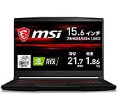 <【NVIDIA最新RTX3050Ti搭載・薄型軽量】MSIゲーミングノートPC GF63 1.86Kg i5 RTX3050Ti/15.6FHD/16GB/512GB/GF63-10UD-628JP【Windows 11 無料アップグレード対応】>